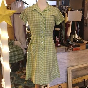Vintage Lime Green Lollipop Gingham Dress 💚 AS-IS